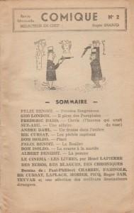 Comique Magazine 2 sommaire