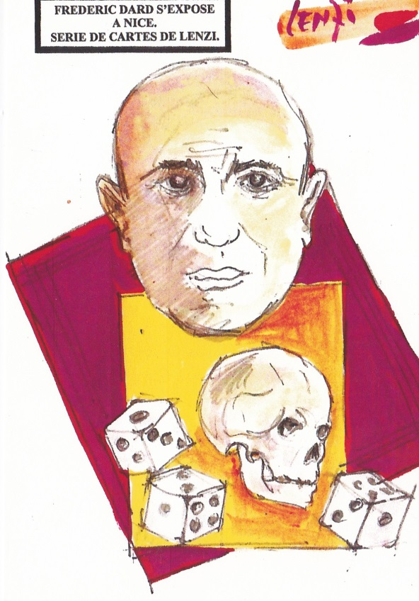 Frédéric Dard s'expose à Nice -Tête de mort et dés