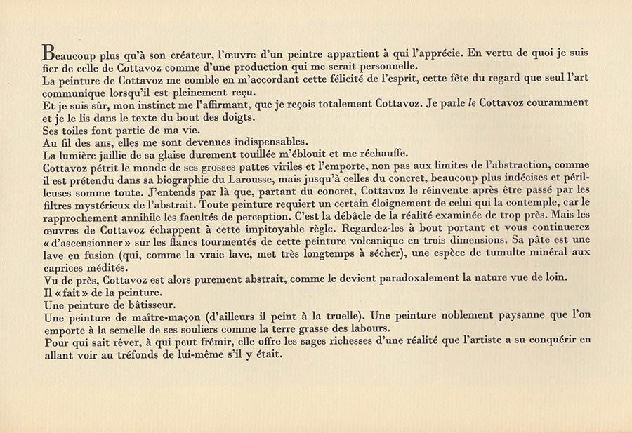 Cottavoz 1ere page texte F. Dard