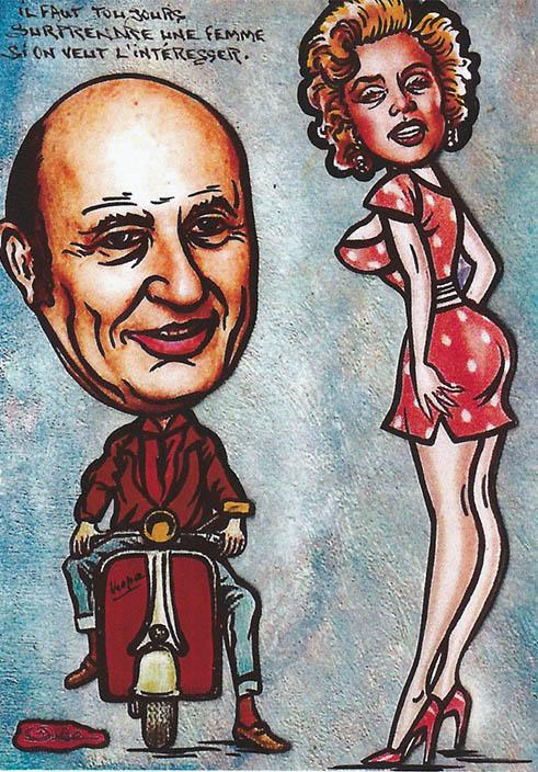 Marylin Monroe dans la rue et Frédéric Dard sur une Vespa