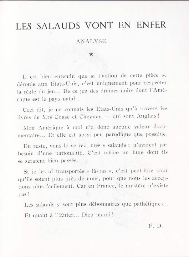 Analyse de la pièce Les salauds vont en enfer par Frédéric Dard