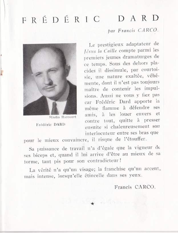 Biographie Frédéric Dard par Francis Carco