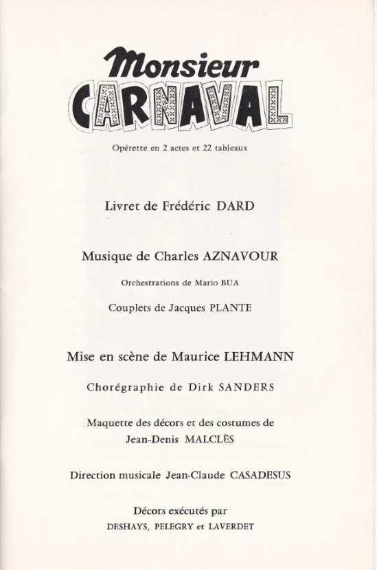 Livret Monsieur Carnaval Théâtre du Chatelet 1ere page