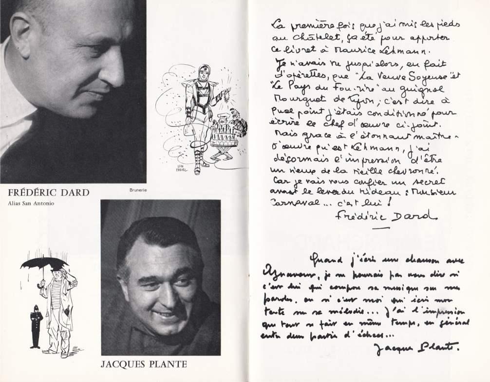 Livret Monsieur Carnaval Théâtre du Chatelet texte F Dard