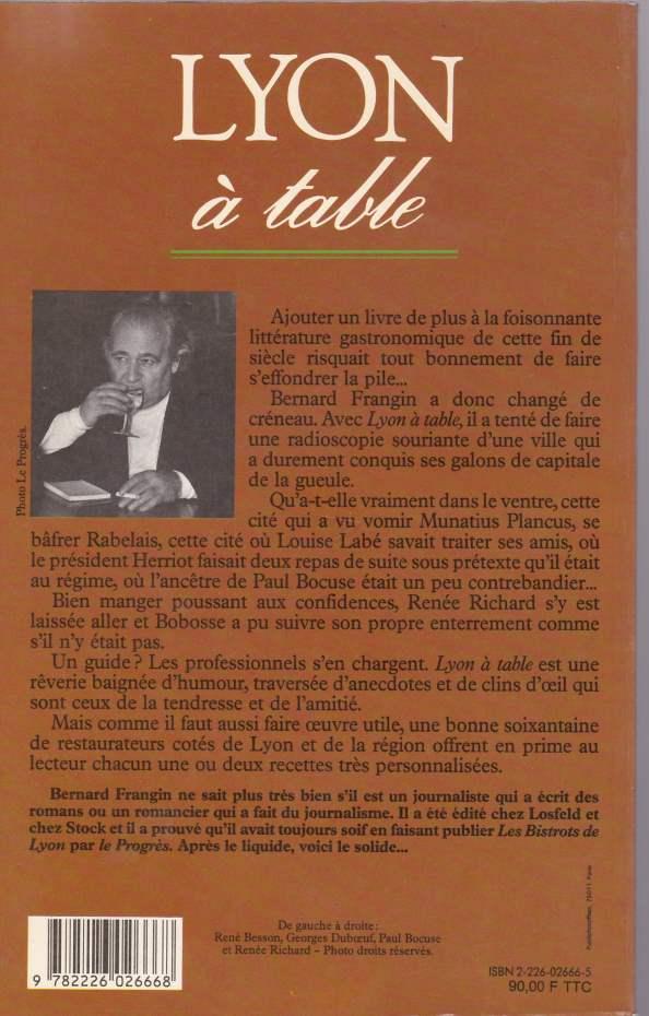 Lyon à table back