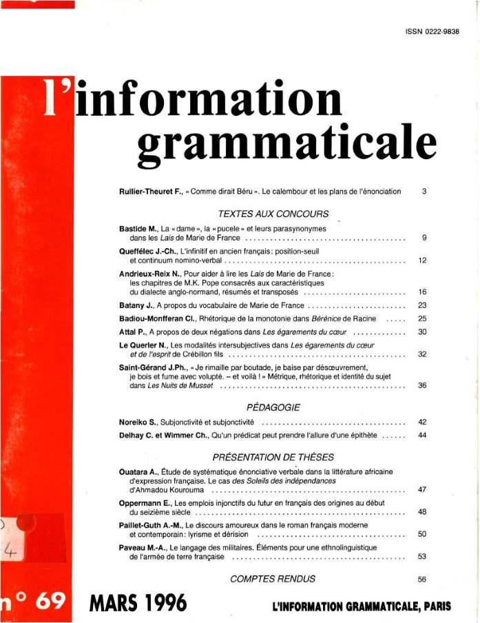 L'information grammaticale n°69