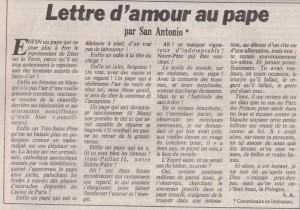 Le Matin de Paris 1017 Lettre d'amour au Pape
