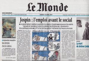 Le Monde 14 avril 2001