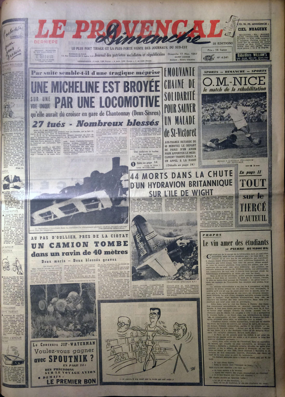 Le Provençal 17 novembre 1957