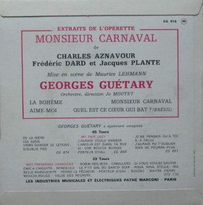 dos 45 tours mons Carnaval