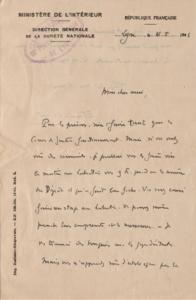 lettre du Docteur Locard 16 mai 1946