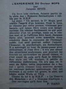 Le Mois à Lyon, 8ème année, n°3 article Dard