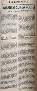 L'Echo de Savoie  n°32 critique Chapier sur Batailles sur la Route