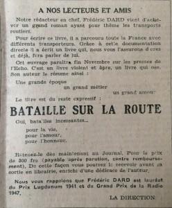 L'Echo de Savoie n°25 pub pour bataille