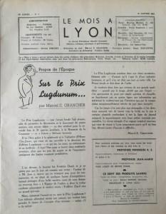 Le Mois à Lyon 15 janvier 1942 éditorial