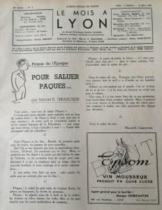 Le Mois à Lyon 25 mars 1942 éditorial