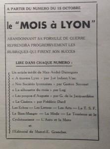 Le Mois à Lyon août-septembre 1940 editorial