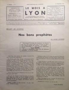 Le Mois à Lyon février 1940 éditorial