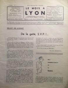 Le Mois à Lyon janvier 1940 éditorial