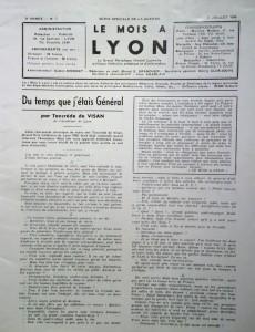 Le Mois à Lyon juillet 1940 éditorial