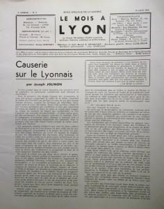Le Mois à Lyon juin 1940 editorial