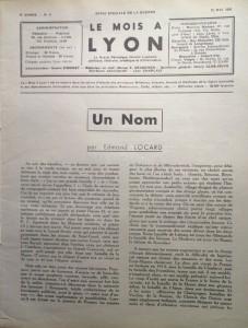 Le Mois à Lyon mai 1940 éditorial