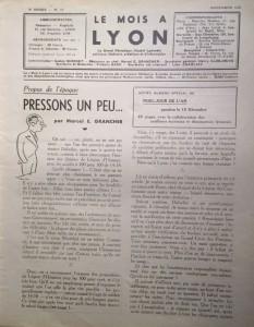 Le Mois à Lyon novembre 1940 éditorial