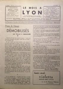 Le Mois à Lyon octobre 1940 éditorial