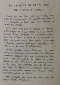 Le Mois à Lyon 15 mars 1941 Le banquet chez Charlaix