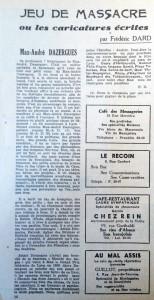 Le mois à Lyon 15 décembre 1947 texte Dard Caricatures