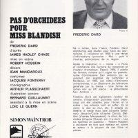 Programme théatre Porte Saint-Martin Pas d'orchidées pour Miss Blandish article sur Dard