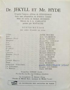 Docteur Jekyll et Mister Hyde  saison 1954-55 distribution