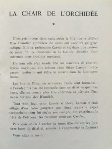 La chair de l'orchidée et les assassins de monchat saison 1954-55 intrigue