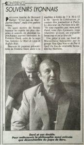 Lyon Figaro 30 août 1990 souvenirs lyonnais