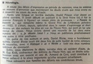 Mystère magazine n°112 décès Krill