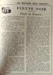 Mystère magazine n°124 article dard