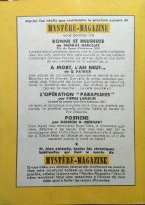 Mystère magazine n°47 back