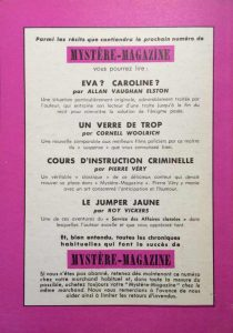 Mystère magazine n°62 back