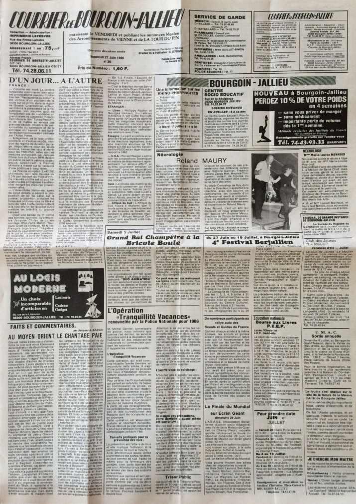 Courrier de Bourgoin-Jallieu 27 juin 1986