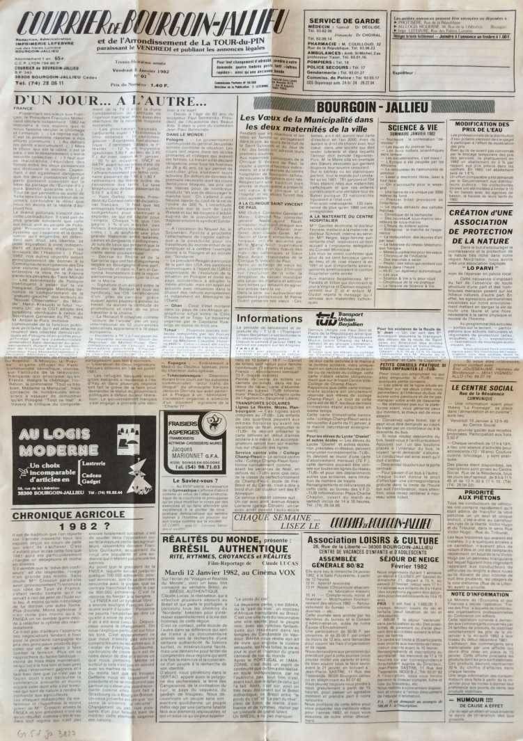 Courrier de Bourgoin-Jallieu 8 janvier 1982