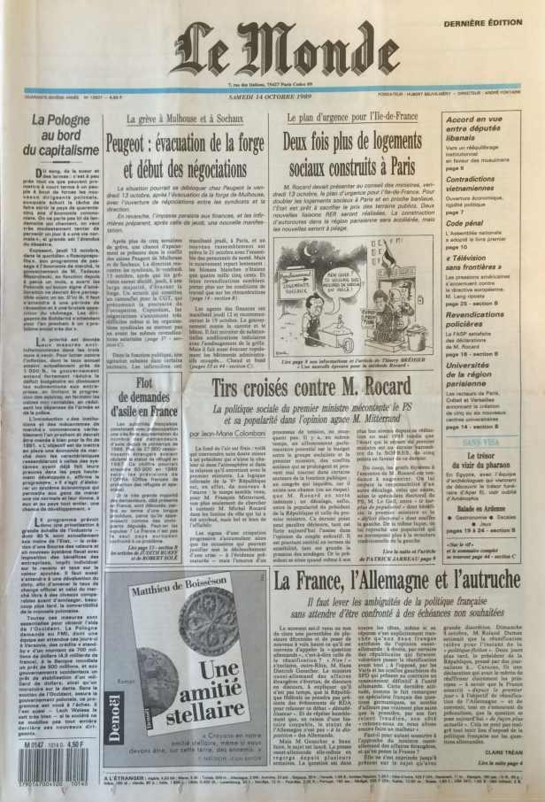 Le Monde 14 octobre 1989