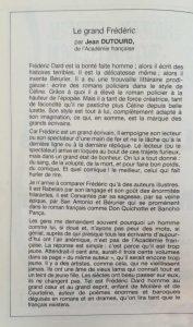 Les brumes de manchester Marigny Le grand Frédéric par Dutourd