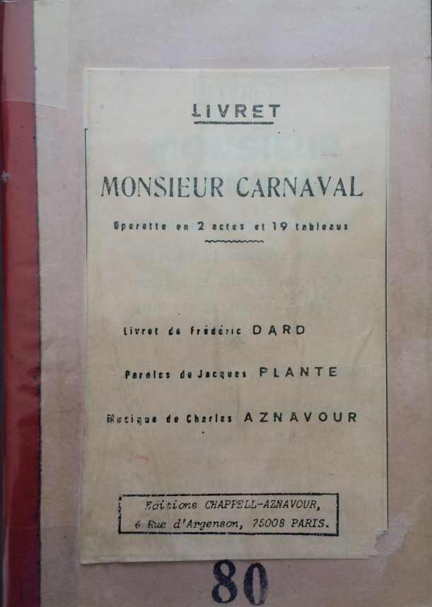 Livret Monsieur Carnaval