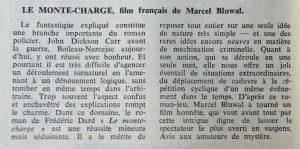 Mystère Magazine n°173 le Monte Charge film