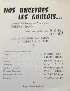 Programme La Bruyère Nos ancêtres les Gaulois distribution