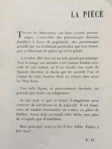 Théatre de la renaissance Bel-Ami texte Dard
