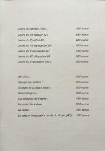 Catalogue Garcia n°1 les lettres et les livres liste et prix
