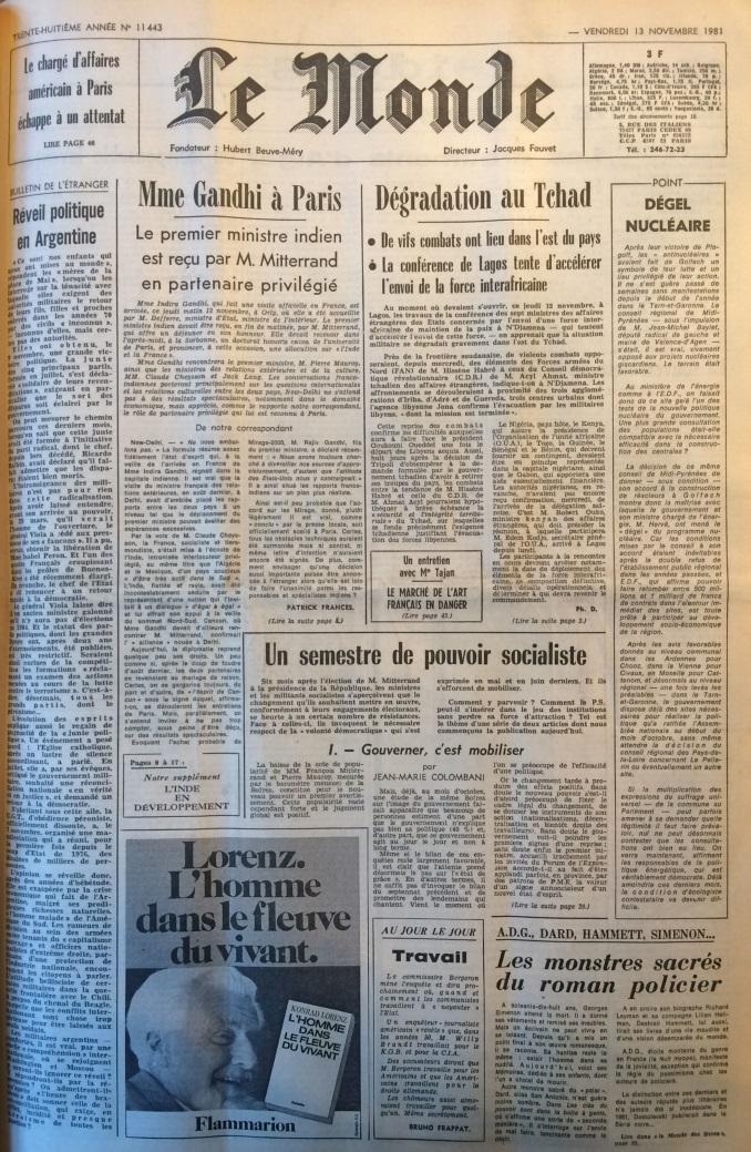 Le Monde 13 novembre 1981