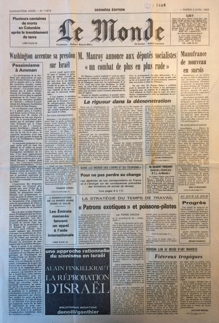 Le Monde 2 avril 1983