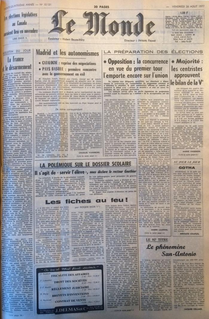 Le Monde 26 aout 1977